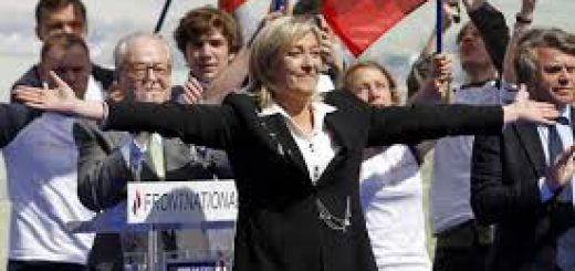 Митинг сторонников Марин Ле Пен во Франции