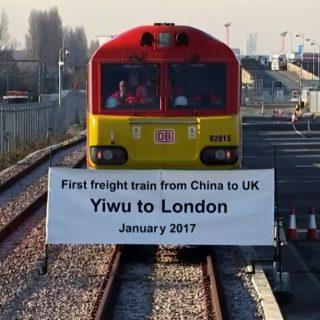 Первый товарный поезд из Китая, который, преодолев почти 12 тыс. км, достиг Лондона после 18 дней путешествия через всю Евразию.