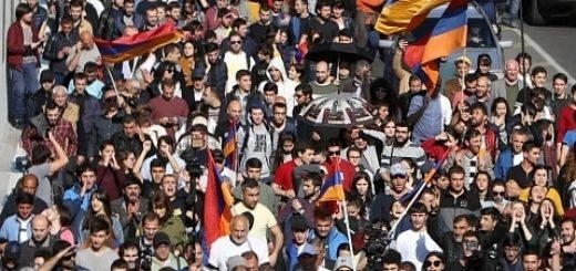 Протестующие в Армении